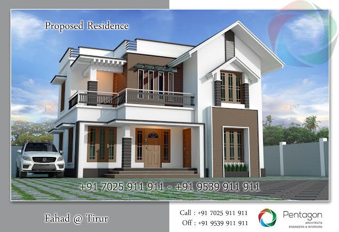 Beautiful kerala model modern design villa for Model villa moderne