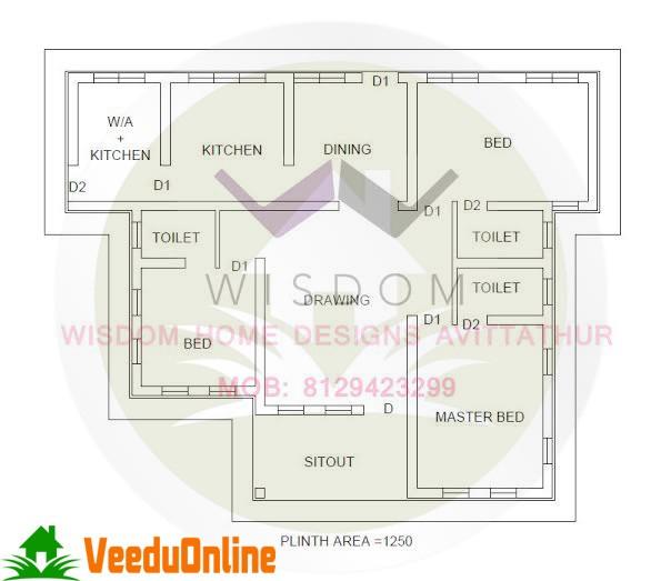 Super Single Floor Home Design 1250 Square Feet