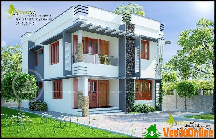 Double Floor Kerala Home Design 1700 Sq Ft