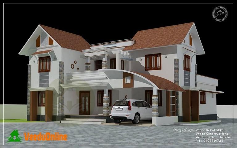 Double Floor Home Design 2800 Square feet