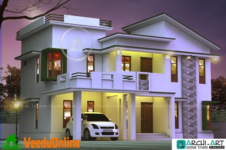 2156 Sq Ft Double Floor Modern Home Design Veeduonline