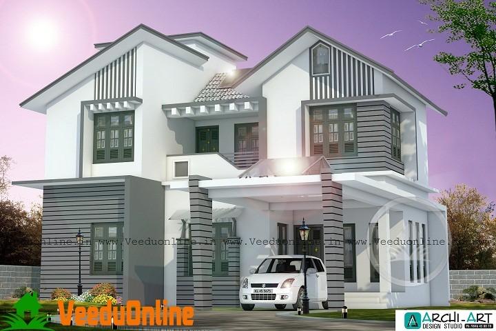 2200 Sq Ft Modern White 4 Bhk Home Design Veeduonline