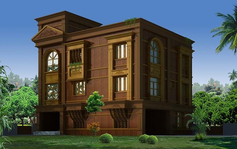 3600 sq ft four floored wooden home design veeduonline for 3600 sq ft house plans