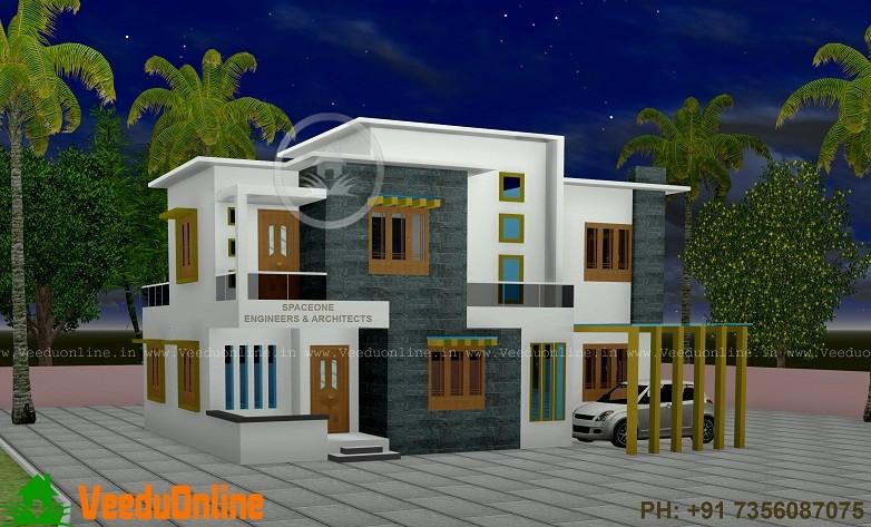 2560 Sq Ft Double Floor Contemporary Home Design - Veeduonline