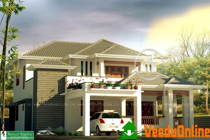 2100 sq ft double floor 4 bhk home design veeduonline for 4 bhk home design