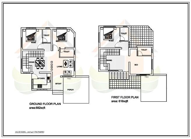 1500 Square Feet Double Floor Budget Villa Home Design