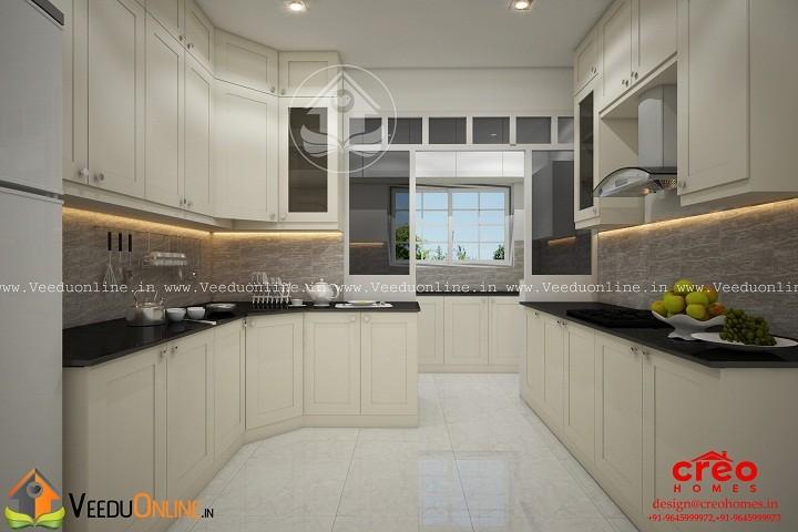 Fabulous white contemporary home kitchen interior design for Kitchen designs kerala homes