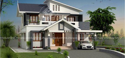 1852 square feet double floor 4 bhk contemporary home design - Home Design Kerala