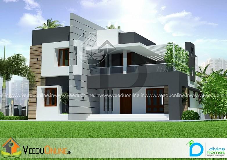2100 Square Feet Double Floor Contemporary Home Design