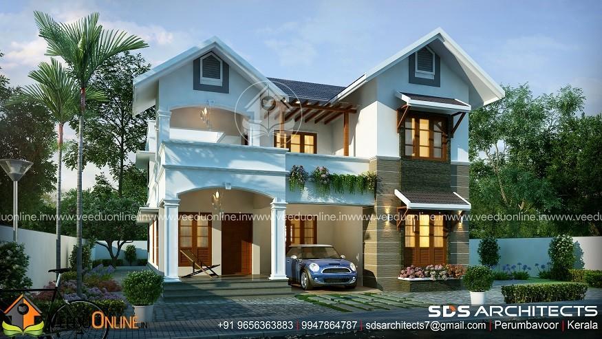 2300 Square Feet Double Floor 4 BHK Contemporary Home Design