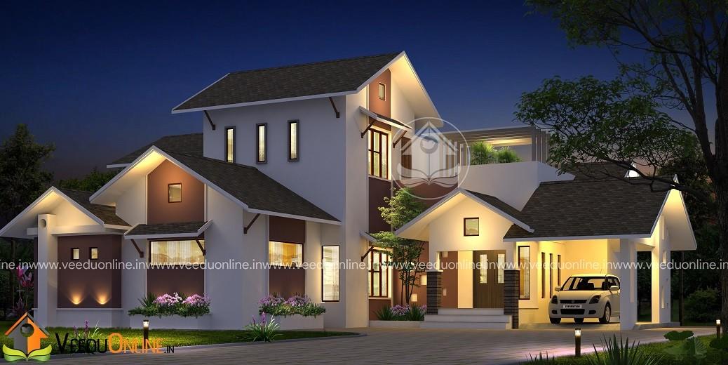 2850 Square Feet 4 BHK Modern Contemporary Home Design