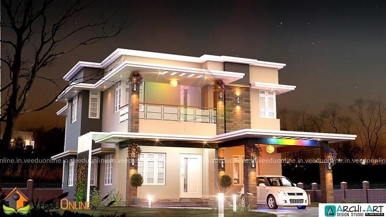1750 Square Feet Double Floor Contemporary Home Design