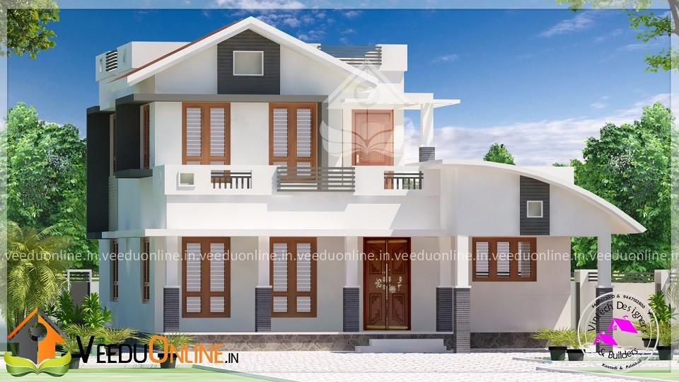 1800 Square Feet Double Floor 3 BHK Modern Home Design