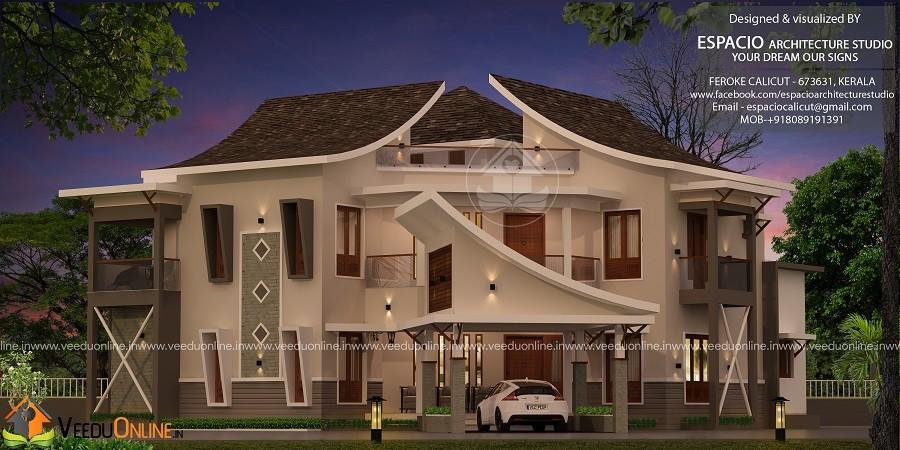 3454 Square Feet Double Floor Contemporary Home Design