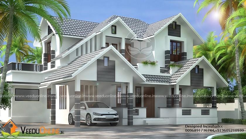 2050 Square Feet Double Floor 4 BHK Modern Home Design