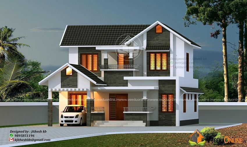 2000 Square Feet Dual Floor Contemporary Home Design