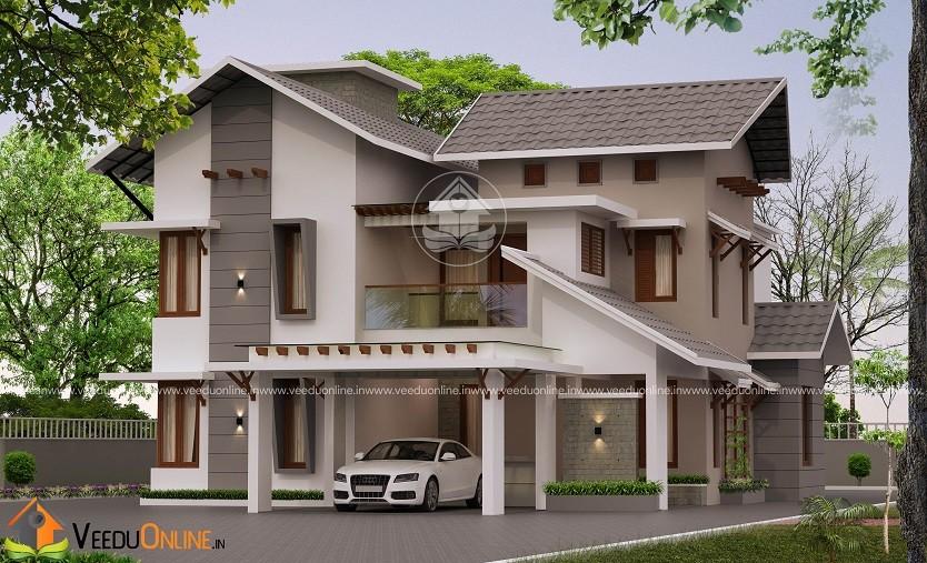 3770 Square Feet Double Floor Contemporary Home Design