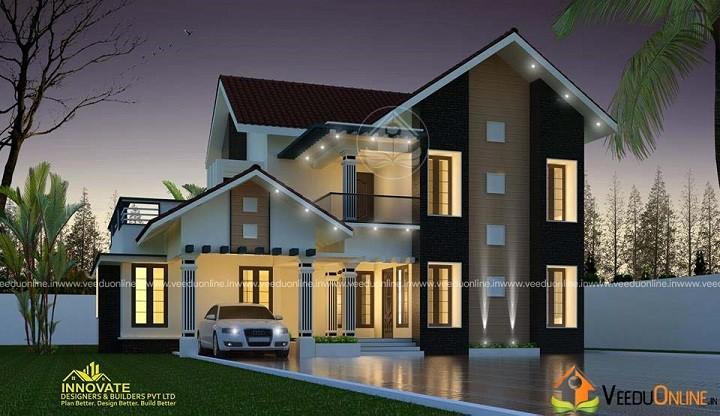 2157 Square Feet Double Floor Contemporary Home Design