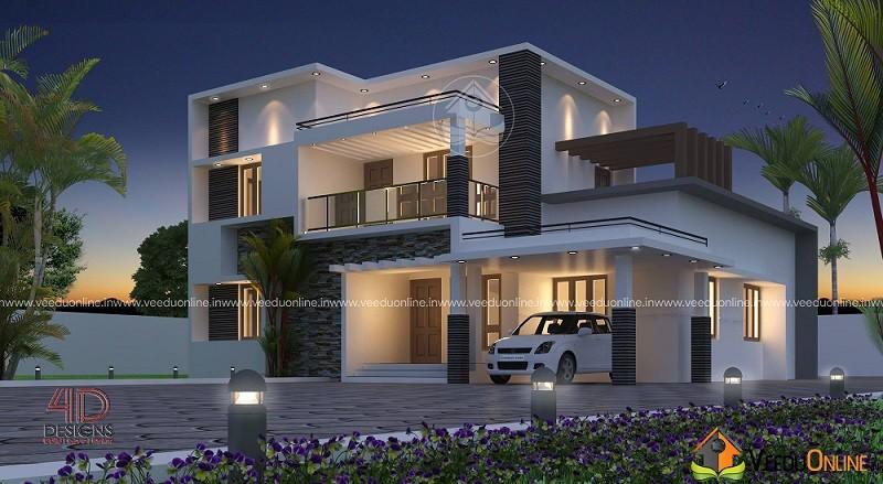 2442 Square Feet Double Floor Contemporary Home Design