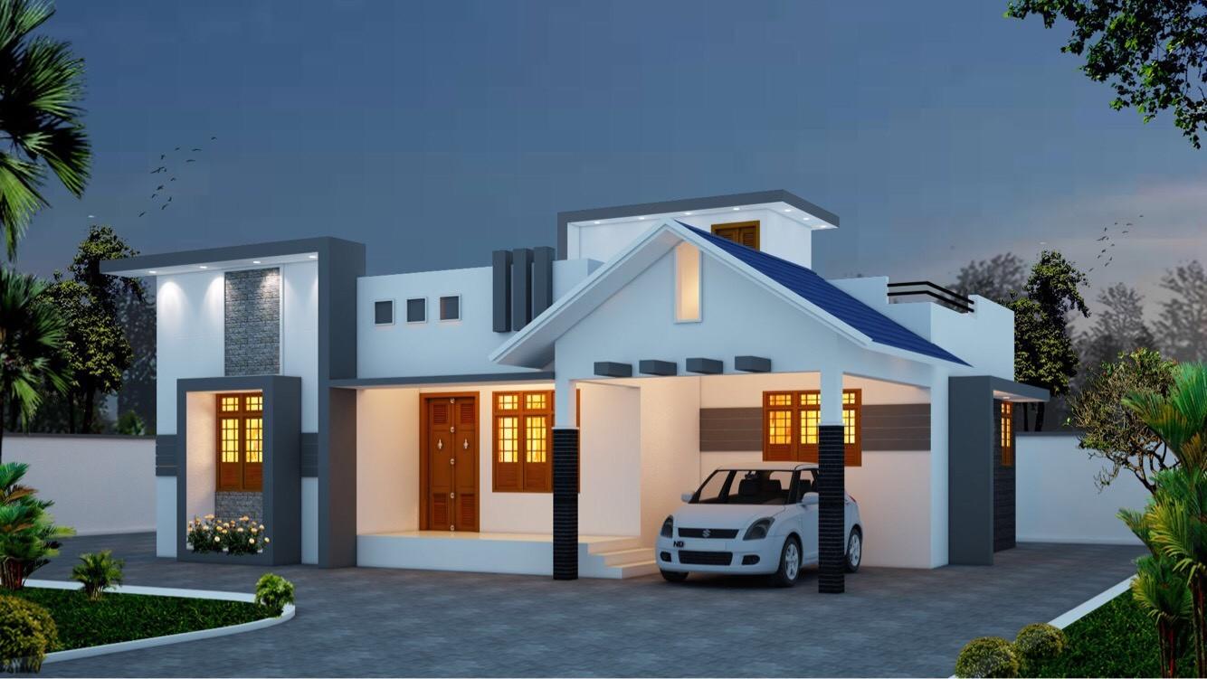 1246 Square Feet Single Floor Contemporary Home Design