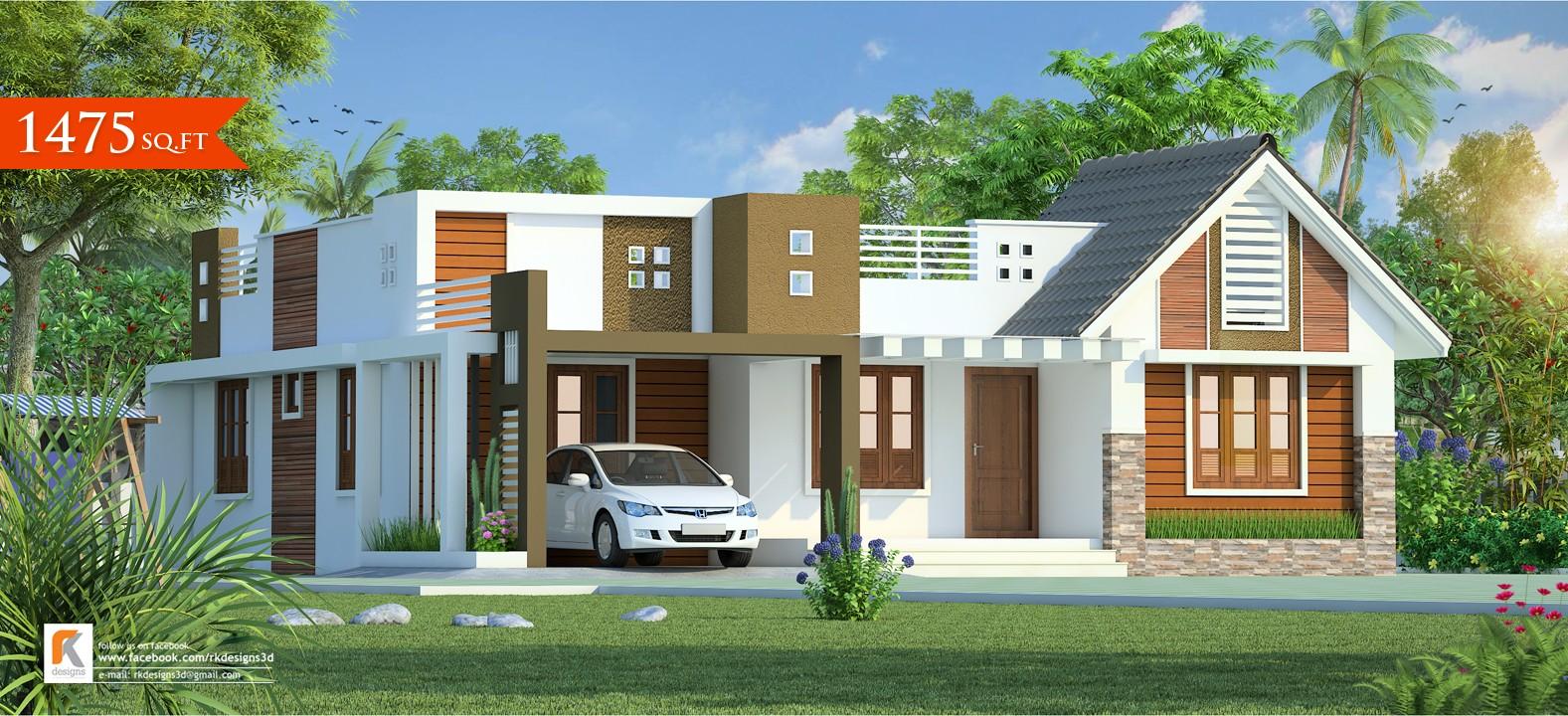 1475 Square Feet Single Floor Contemporary Home Design