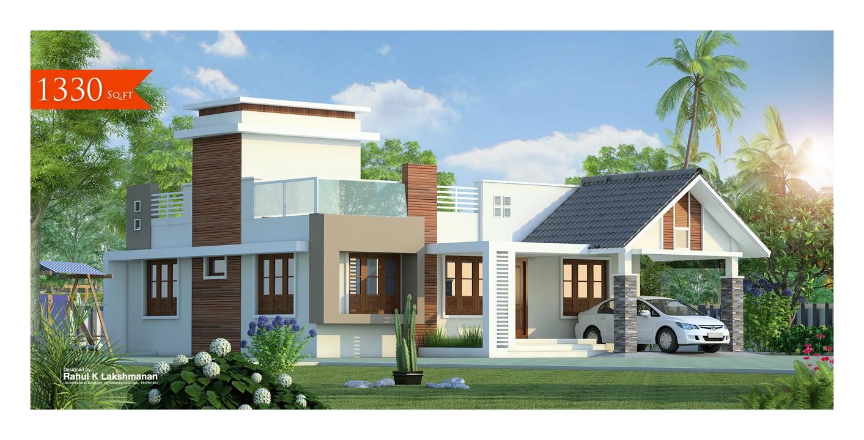 1330 Square Feet Single Floor Contemporary Home Design