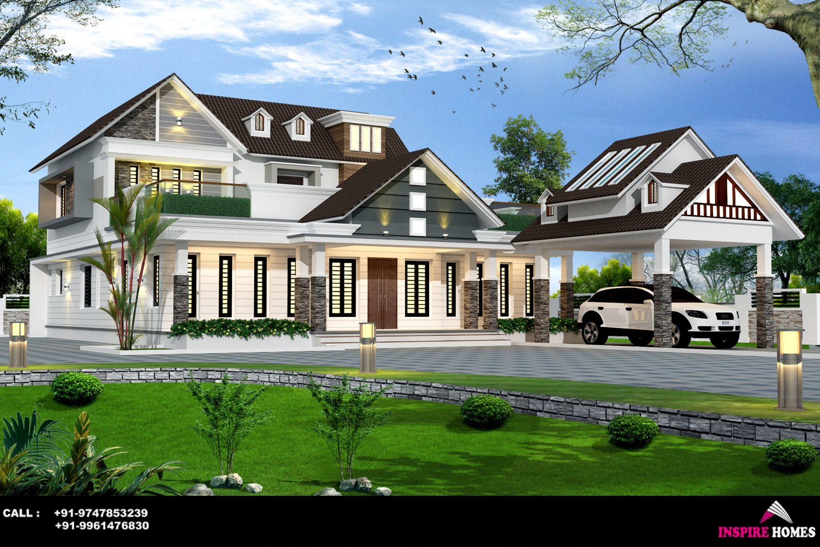 Double Floor European Style Nalukettu Home Design