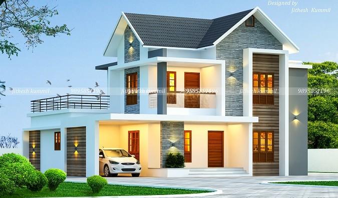 3030 Square Feet Double Floor Contemporary Home Design