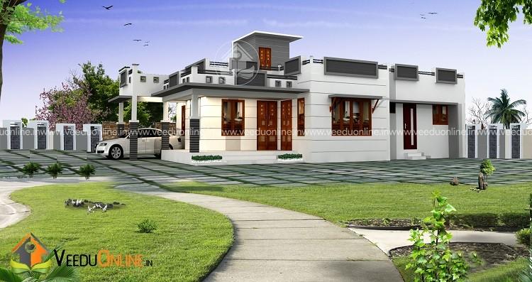 1200 Square Feet Single Floor Contemporary Home Design