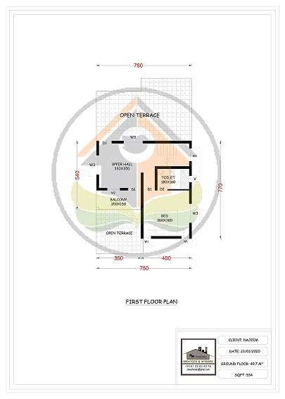 1563 Square Feet Double Floor Contemporary Home Design