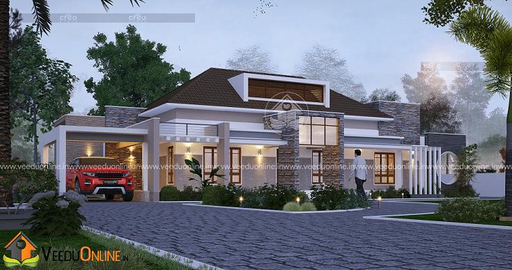3141 Square Feet Single Floor Contemporary Home Design