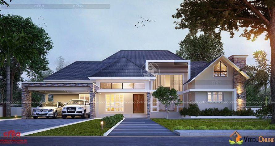 3189 Square Feet Single Floor Contemporary Home Design