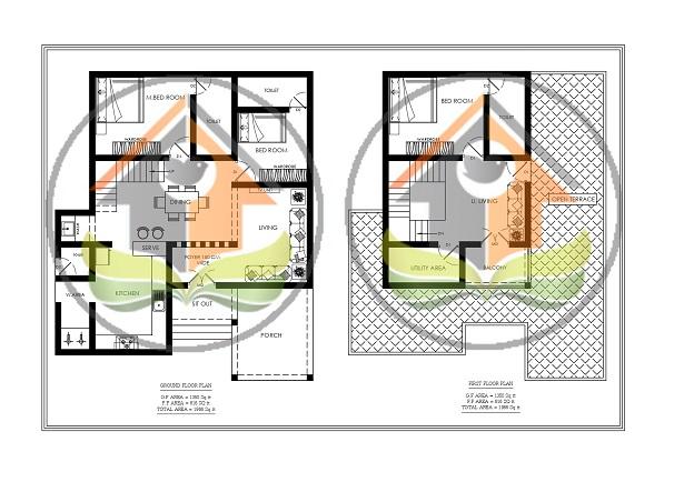 1966 Square Feet Double Floor Contemporary Home Design