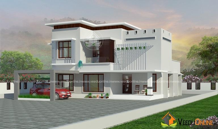 2200 Square Feet Contemporary 4 BHK Home Design