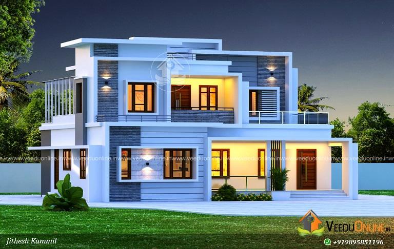 2500 Square Feet Contemporary Double Floor Home Design