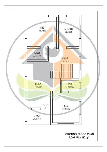830 Square Feet Contemporary Single Floor Home Design