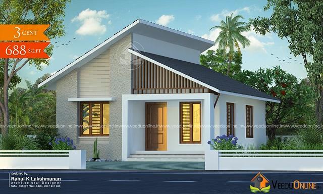 688 Square Feet Single Floor Contemporary Home Design